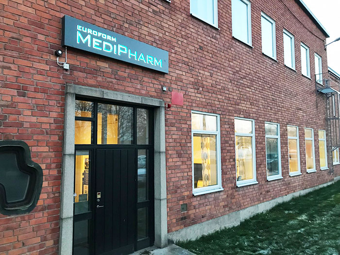 The front of the MediPharm head office in Motala